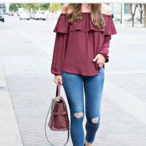ANN TAYLOR Wine Ruffle Off Shoulder Blouse Top S